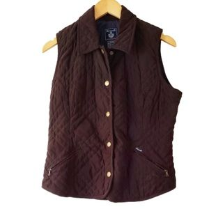 Façonnable Brown Quilted Waterproof Vest